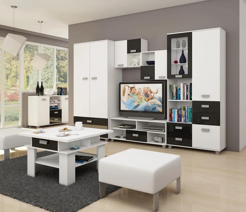 MEBLOCROSS Solo obývacia izba biela / čierny lesk
