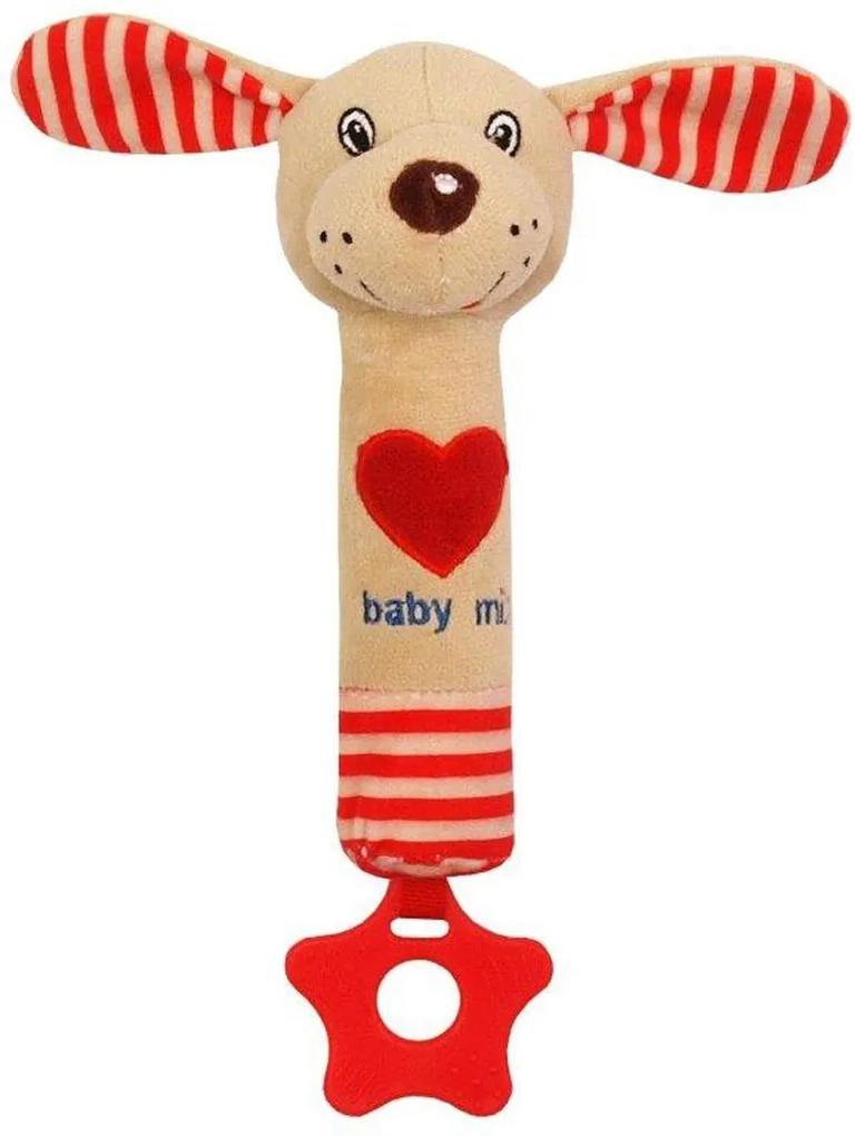 carero Detská pískacia plyšová hračka s hryzátkom Baby Mix psík červená Červená
