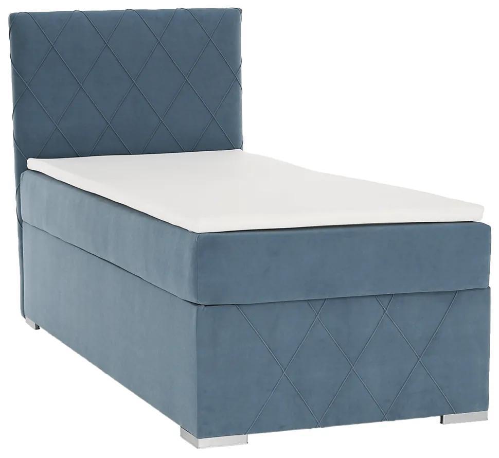 Boxspringová posteľ, jednolôžko, modrá, 90x200, ľavá, PAXTON