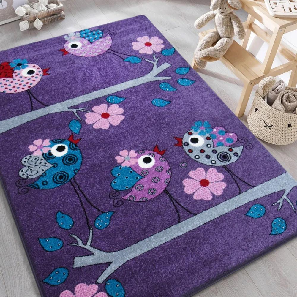 DY Detský fialový koberec Vtáčiky - rôzne rozmery Rozmer: 160 x 220 cm