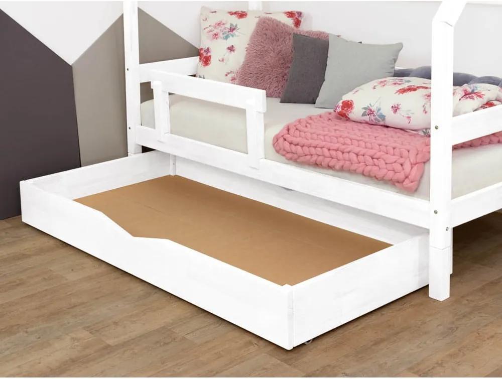 Biela drevená zásuvka pod posteľ Benli Buddy, 90 x 160 cm