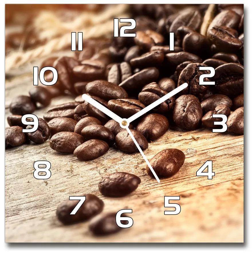 Sklenené hodiny štvorec Zrnká kávy pl_zsk_30x30_f_122026573