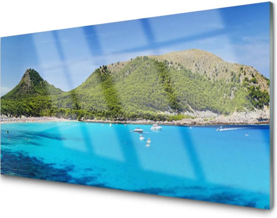 Skleněný obraz Hory moře krajina
