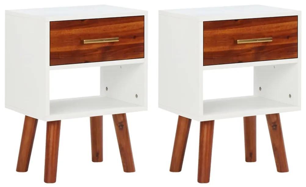 vidaXL Nočné stolíky, 2 ks, masívne akáciové drevo, 40x30x45 cm