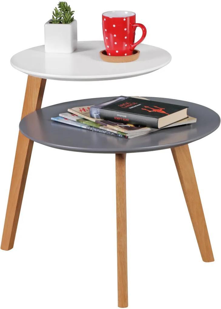 Odkladací stolík Scanio s 2 úrovňami, 61 cm, biela/sivá