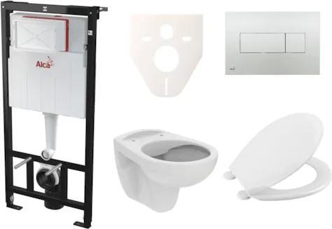 Závesný set WC S-Line PRO rimless, nádržka Alcaplast Sádromodul, tlačidlo chróm lesk SIKOASP5