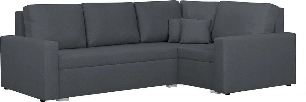 KONDELA Milor P rohová sedačka s rozkladom a úložným priestorom sivá