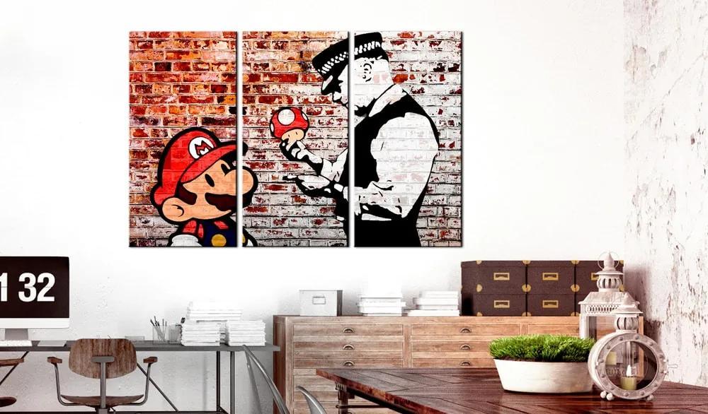 Obraz maľba postavičiek na tehle - Mural on Brick