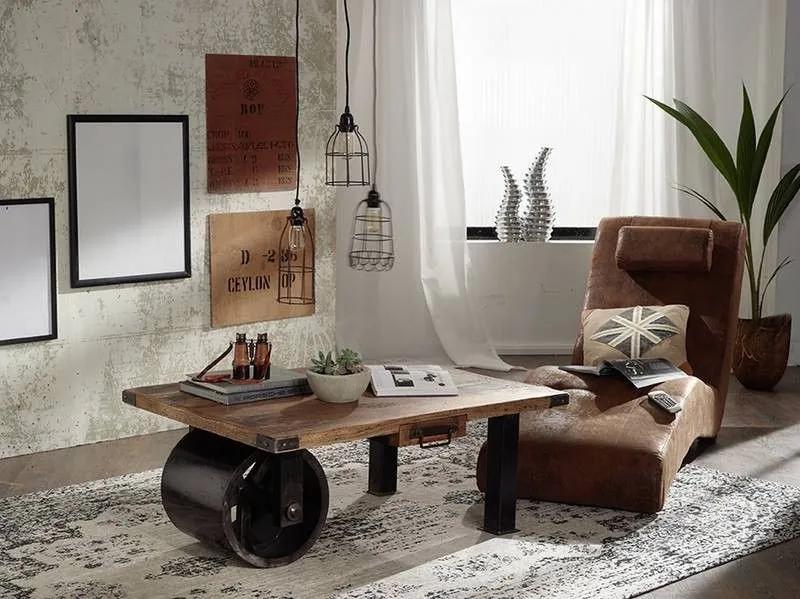 Bighome - IRON Konferenčný stolík 110x80 cm, mango, prírodná