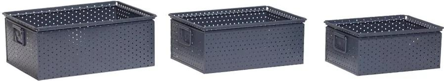 Sada 3 tmavosivých úložných boxov Hübsch Margo