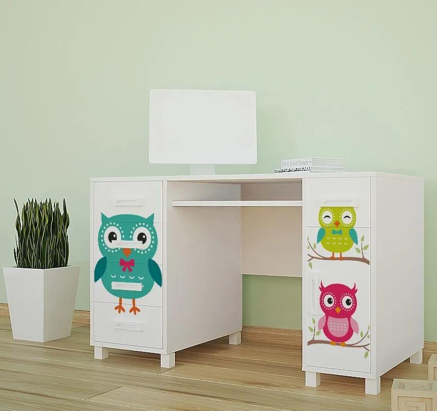 MAXMAX Detský písací stôl FAREBNÉ sovička - TYP 1