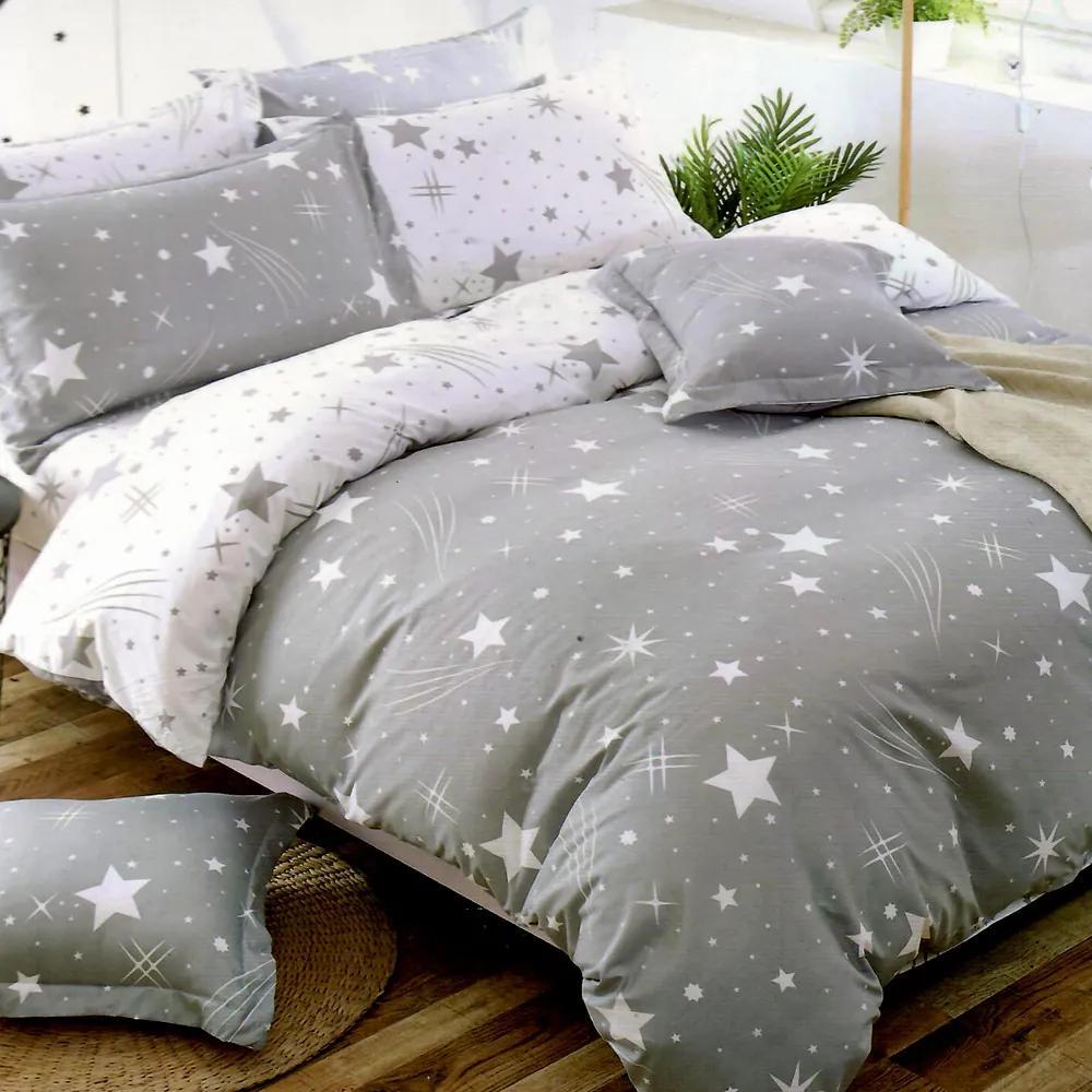 HOD Bavlnené posteľné obliečky 3D/Foto STAR-09 sivé - 7 dielna súprava 140x200cm