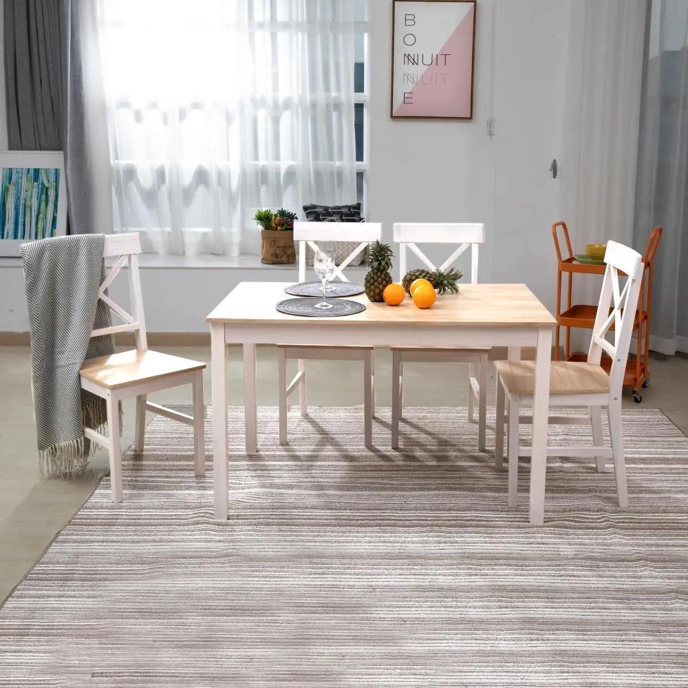Jedálenský set 4x stolička + stôl Catini KAMPI - Biela