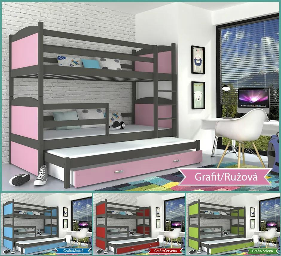 Mates 3 grafit MDF 3 poschodová posteľ pre 3 osoby