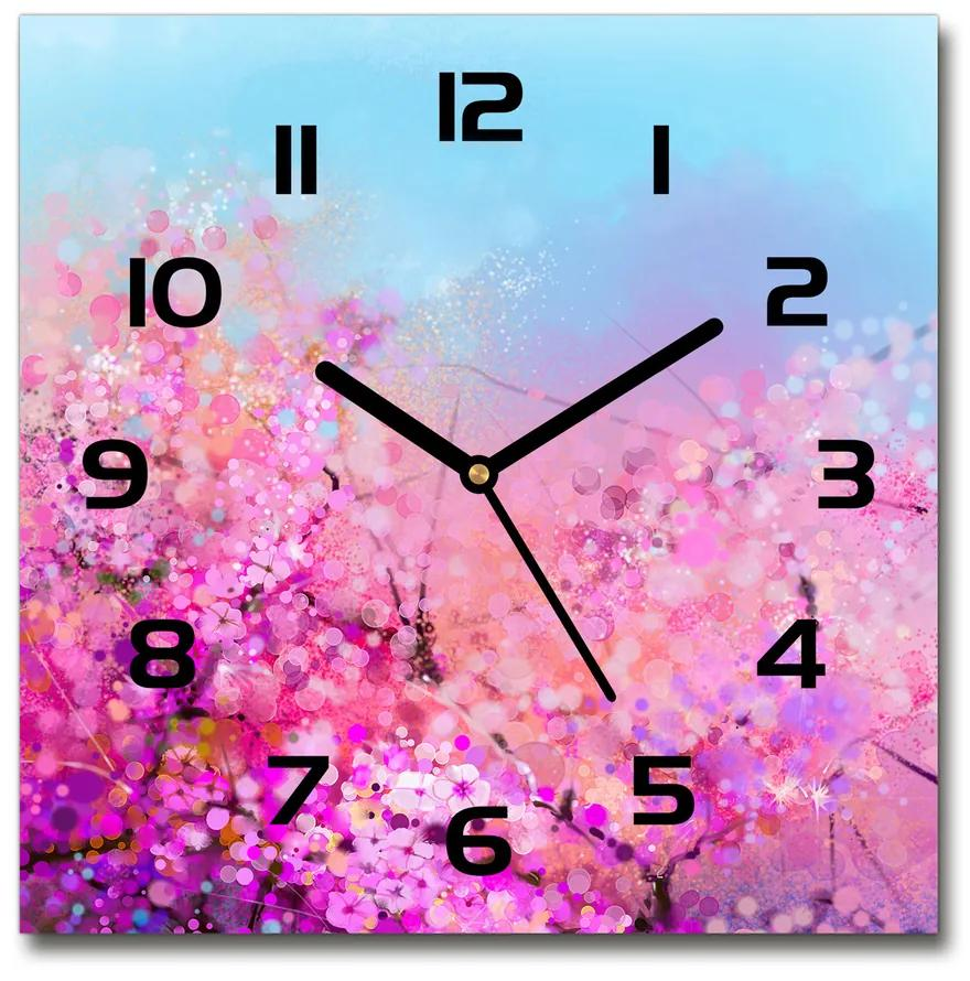 Sklenené hodiny štvorec Kvety višne pl_zsk_30x30_f_106388949