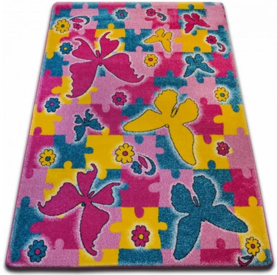 Detský kusový koberec Motýle ružový, Velikosti 240x330cm
