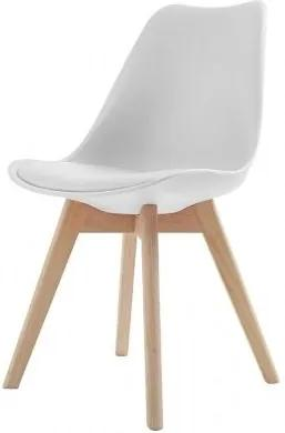 JEREMIE stolička Biela svetlý buk