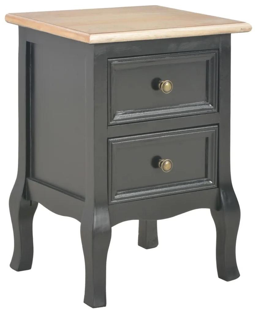 vidaXL Nočný stolík, čierny 35x30x49 cm, MDF