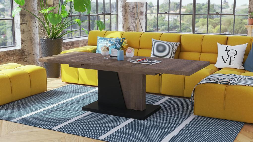 NOIR dub hnedý / čierny, rozkladacia, konferenčný stôl, stolík