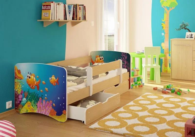 MAXMAX Detská posteľ RYBIČKY funny 160x80 cm - bez šuplíku 160x80 pre všetkých NIE