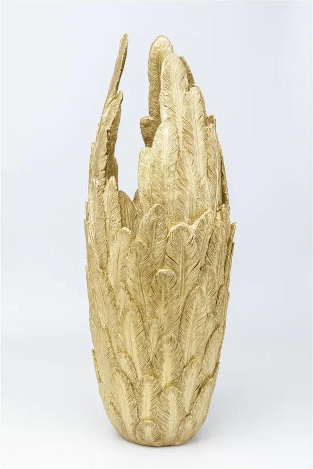 Váza v zlatej farbe Kare Design Feathers, výška 91 cm