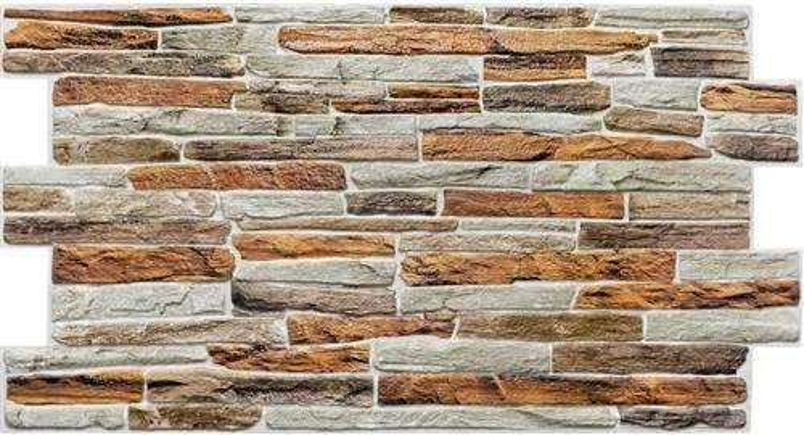 Obkladové 3D PVC panely TP10017303, rozmer 980 x 480 mm, kameň hnedo-sivý, GRACE