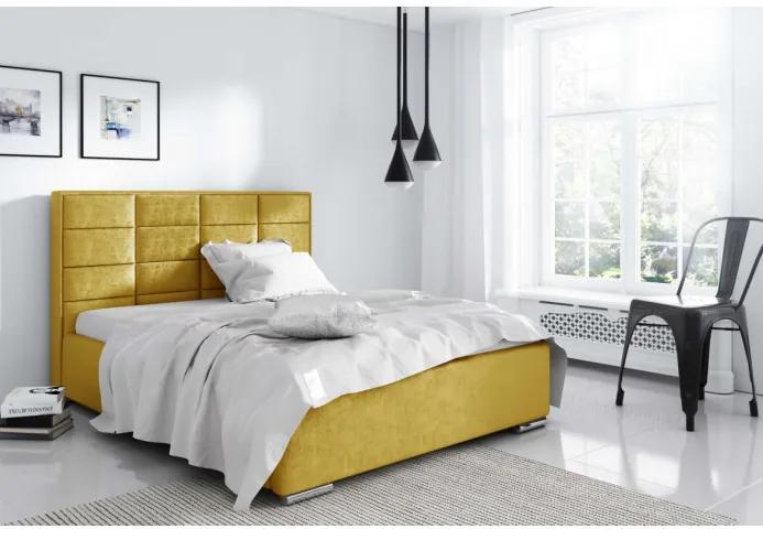 Elegantná manželská posteľ Caffara 120x200, žltá