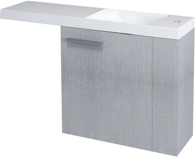 Latus VI 55820 umývadlová skrinka 50x50x22 cm, pravá, dub strieborný