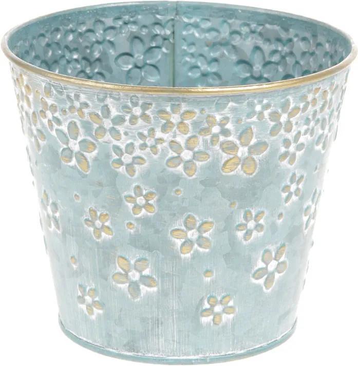 Obal z kovu na květiny v modré barvě s dekorem květin