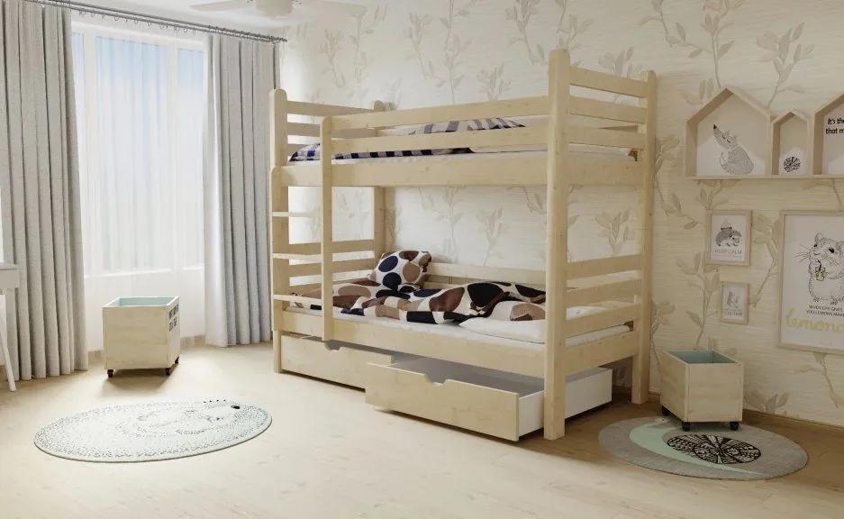 MAXMAX Detská poschodová posteľ z MASÍVU 200x80cm so zásuvkami - M07 200x80 ÁNO