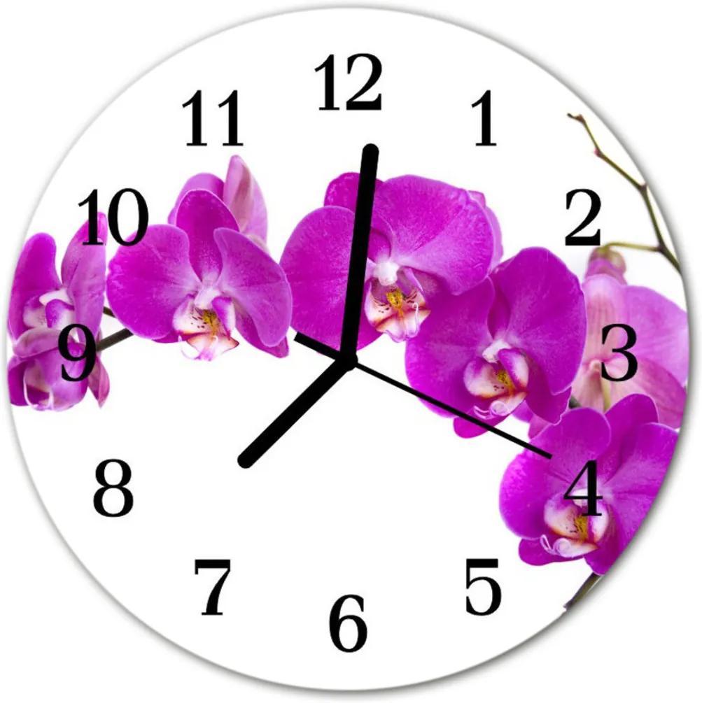 Skleněné hodiny kulaté orchidej
