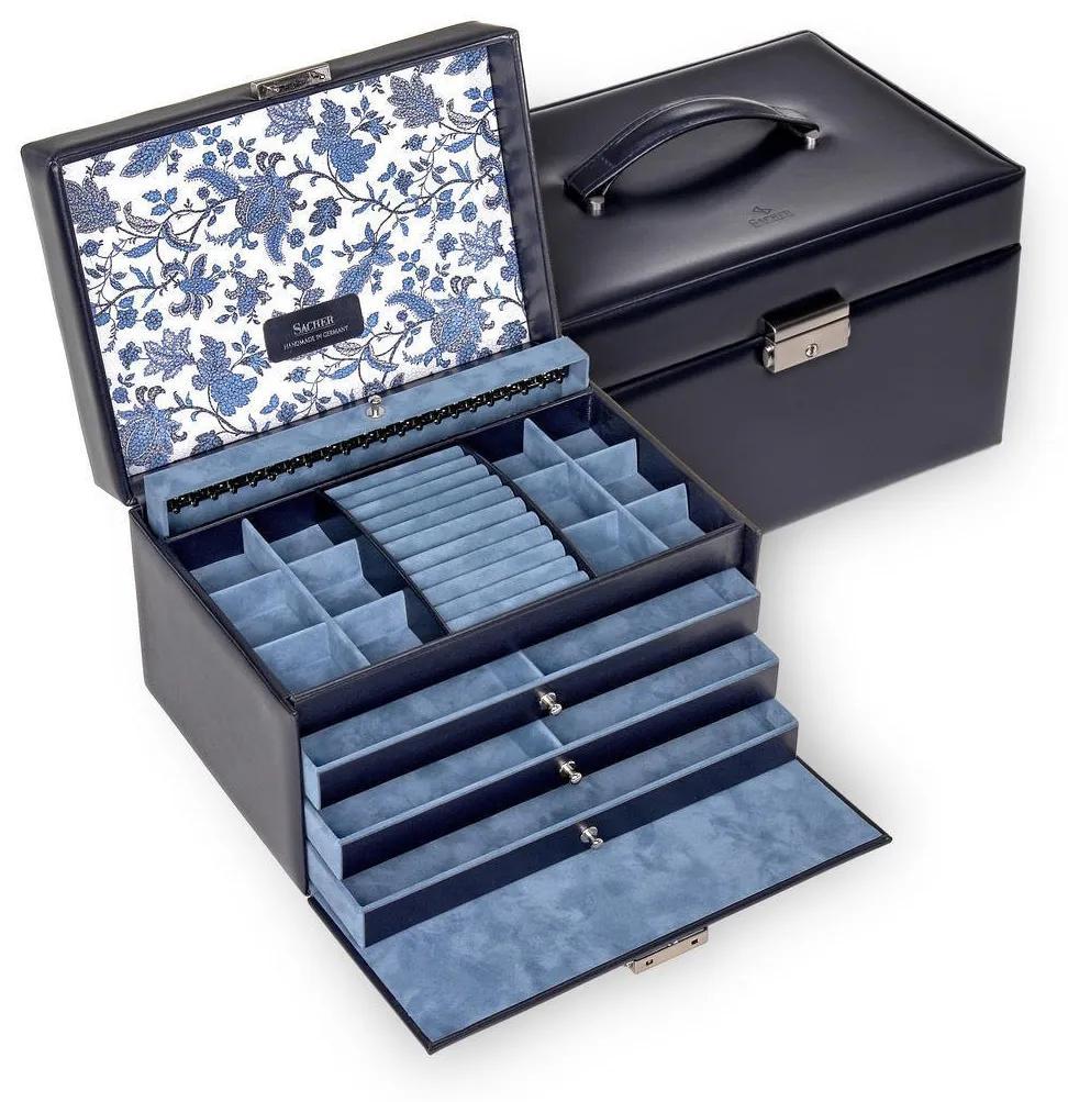 Šperkovnica Sacher Jasmin/Florage, modrá