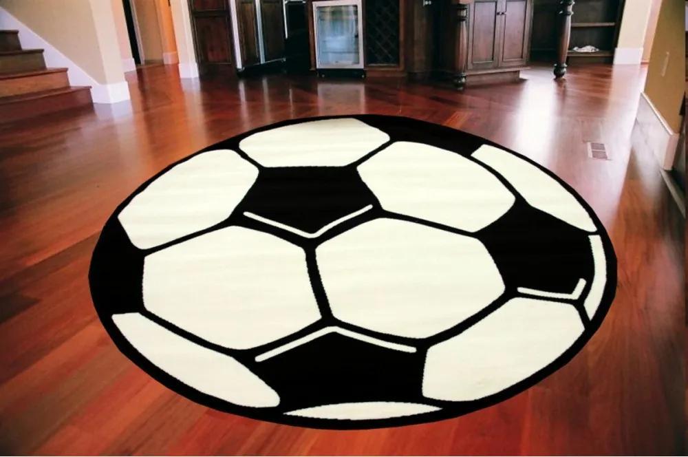 Kusový koberec PP Futbalová lopta krémový, Velikosti 80x80cm