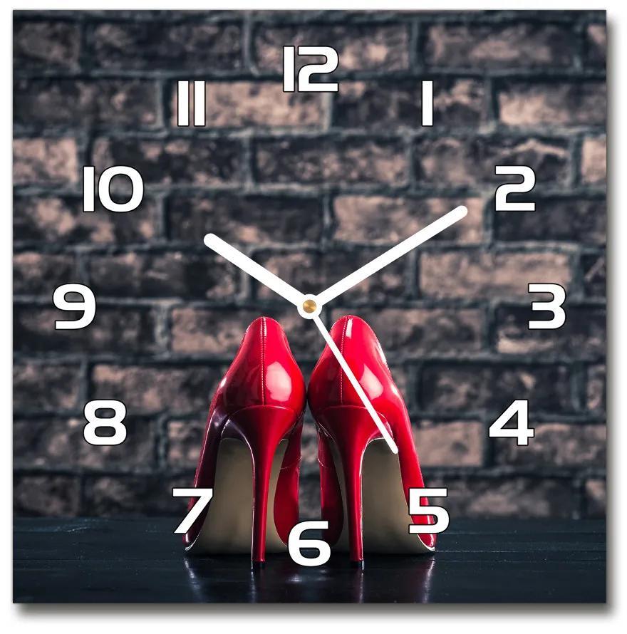 Sklenené hodiny štvorec Červené podpätky pl_zsk_30x30_f_110823903