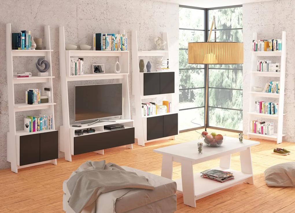 MEBLOCROSS Rack obývacia izba biela / čierny lesk
