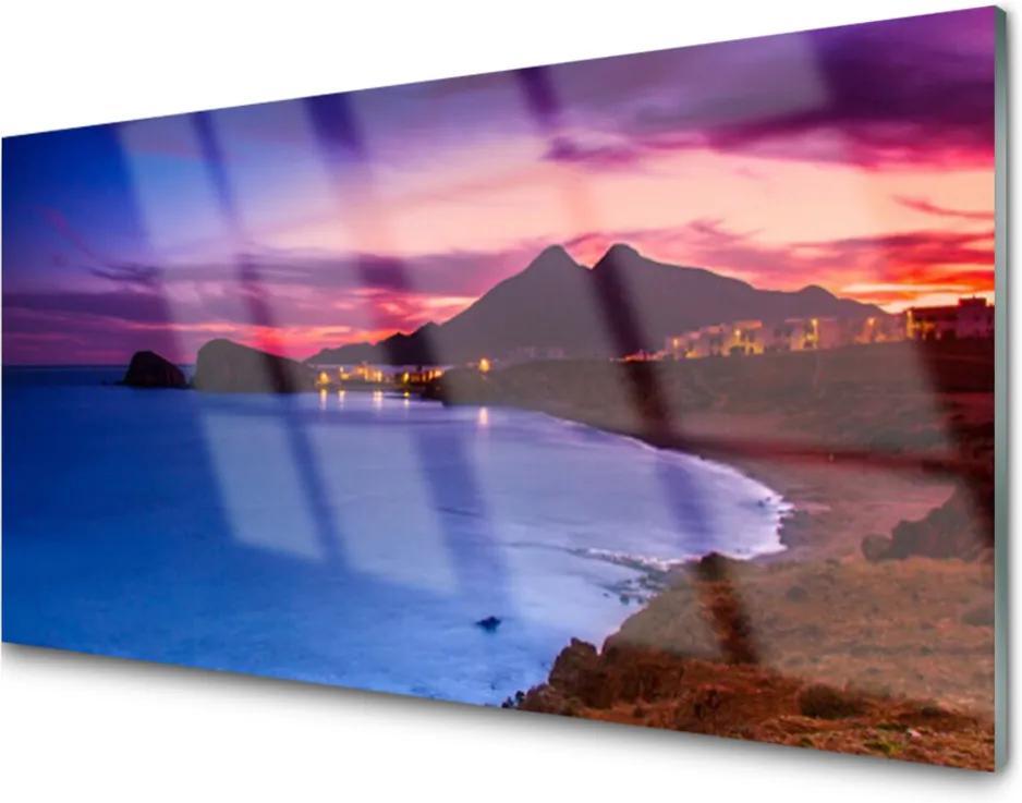 Obraz na akrylátovom skle More Pláž Hory Príroda