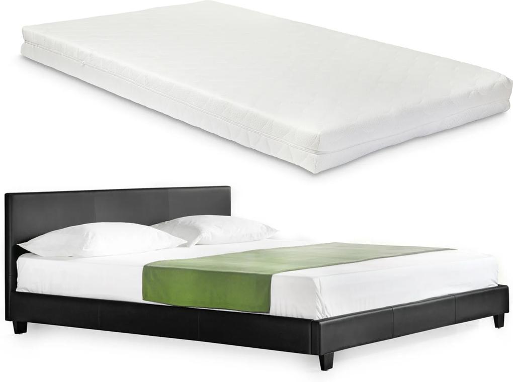 Corium® Moderná manželská posteľ - Barcelona - s matracom - čierna - 140 x 200 cm