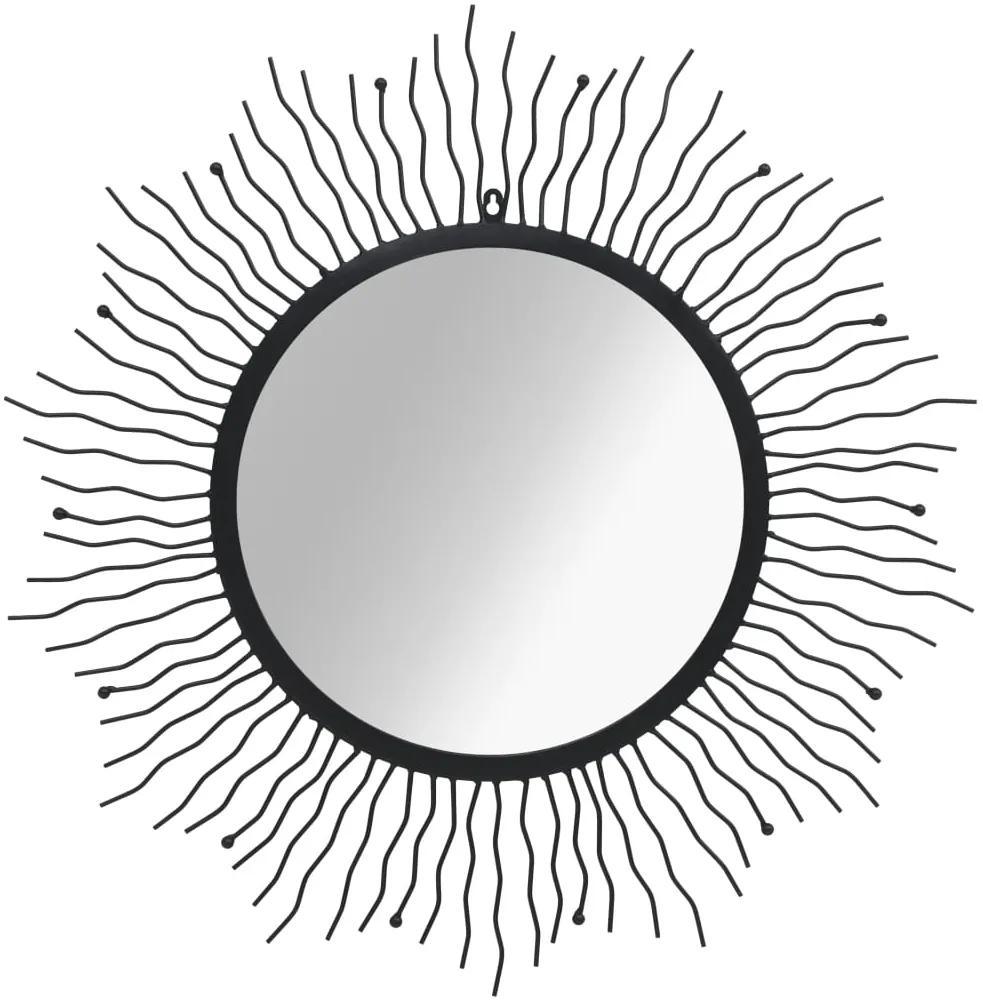vidaXL Nástenné zrkadlo slnečné lúče čierne 80 cm