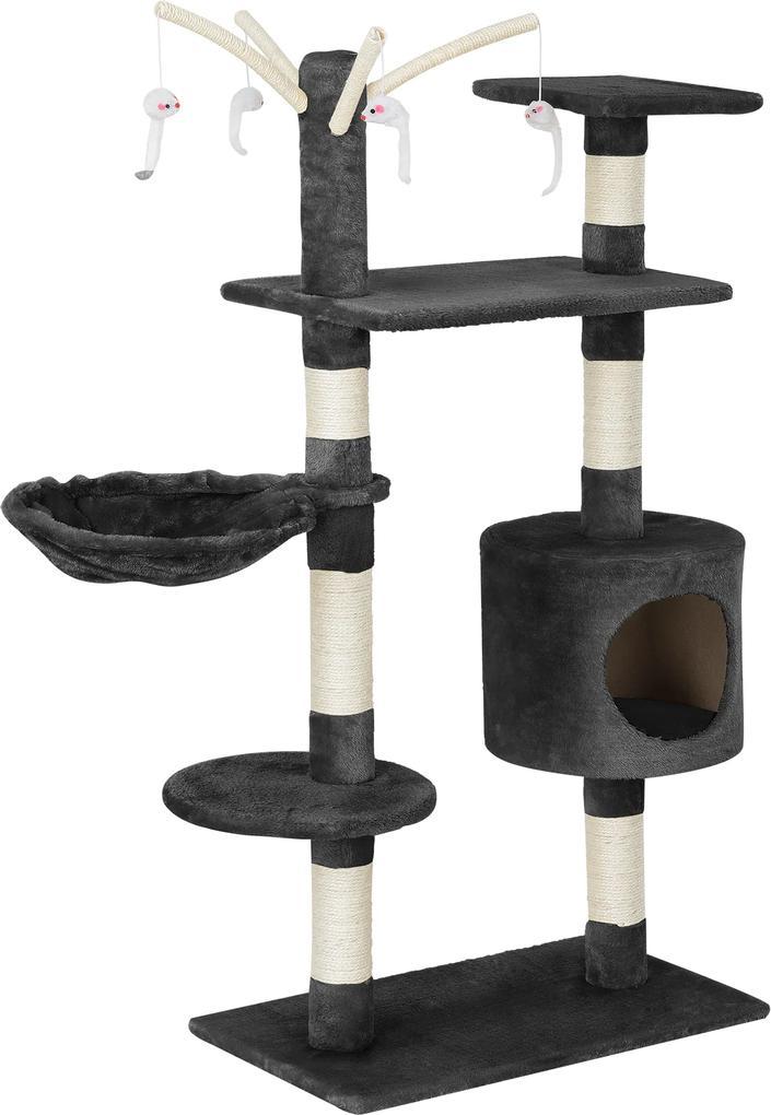en.casa ® Škrabací strom pre mačky - 65 x 35 x 130 cm - sivý  96a61c83836