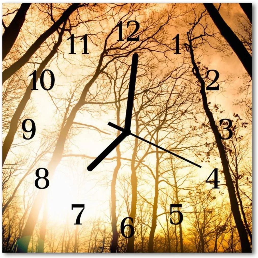 Skleněné hodiny čtvercové stromy