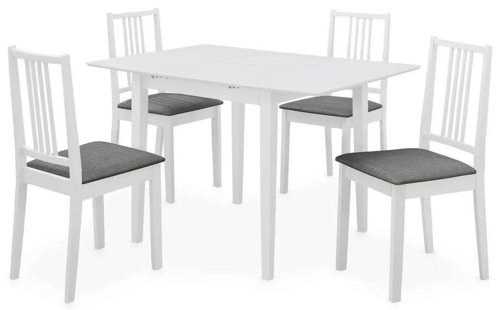 vidaXL 5-dielna jedálenská súprava z drevotriesky biela