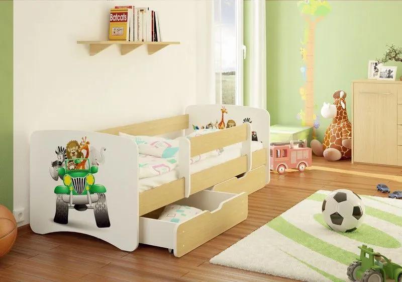 MAXMAX Detská posteľ SAFARI JEEP funny 160x90cm - so zásuvkou 160x90 pre chlapca ÁNO