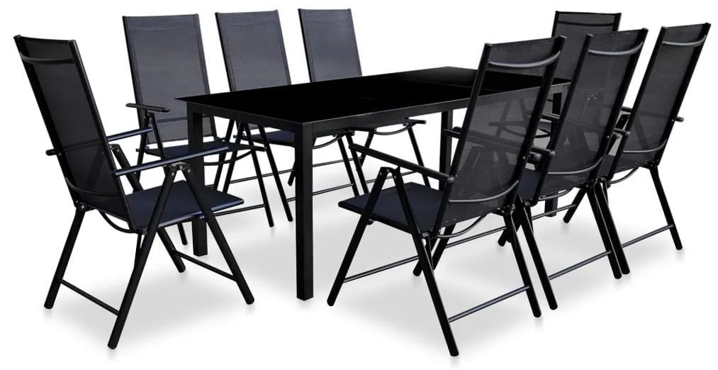 vidaXL 9-dielna sada jedálenského záhradného nábytku, hliníková, čierna