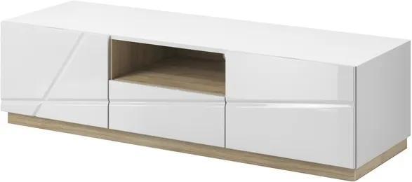 Sconto TV stolík FUTURA 03 biela vysoký lesk/dub riviera