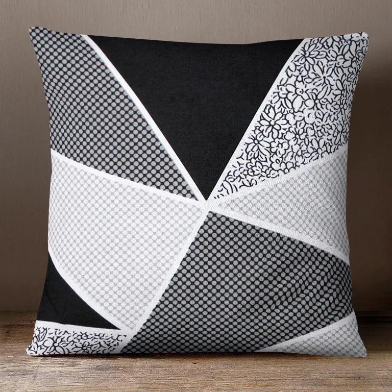 Goldea bavlnená obliečka na vankúš - vzor veľké čierne a sivé trojuholníky 45 x 45 cm