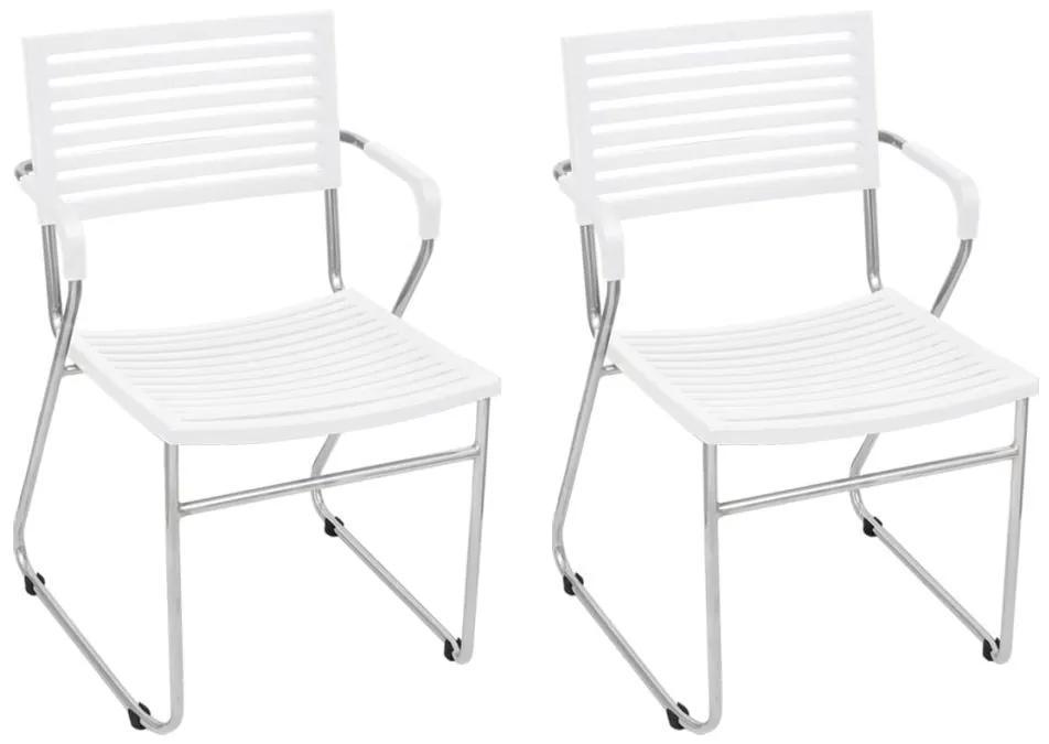 vidaXL Stohovateľné jedálenské stoličky 12 ks, biele, plast