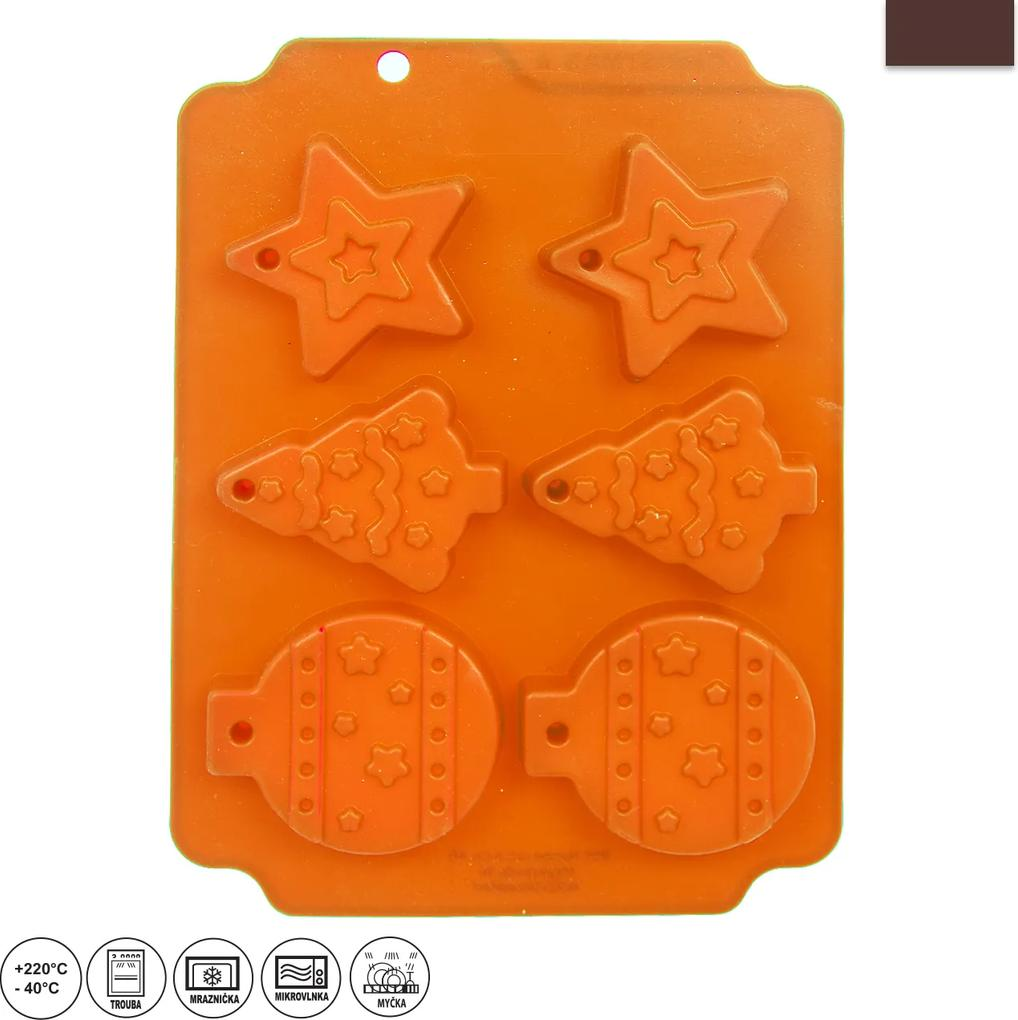 Forma silikónová Vianoce 6 tvarov oranžová