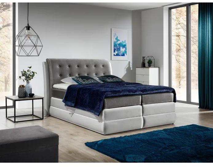 Mohutná kontinentální postel Vika 120x200, grafit + stříbrná + TOPPER