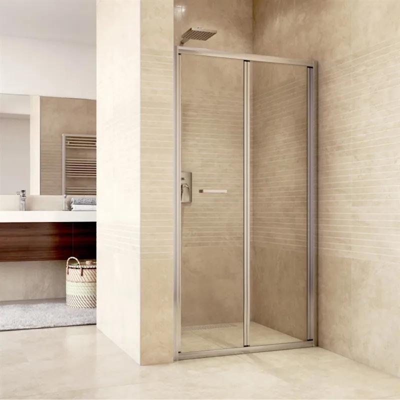 MAXMAX Sprchové dvere zalamovacie, Mistic, 100x190 cm, chróm ALU, sklo Číre