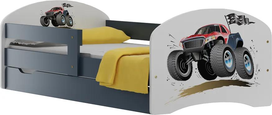 MAXMAX Detská posteľ so zásuvkami MONSTER TRUCK 180x90 cm 180x90 pre chlapca ÁNO